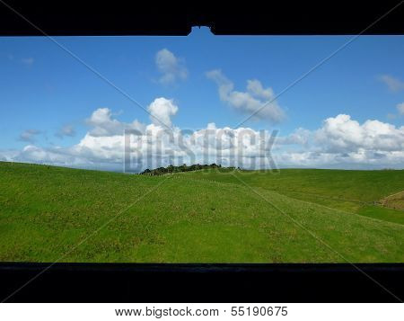 View Onto Meadows And Rolling Hills
