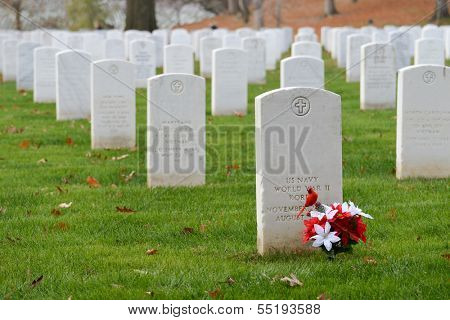 Headstones in Arlington National Cemetery near to Washington DC - United States