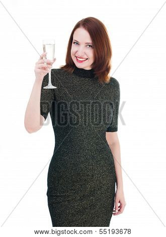 Pretty Woman In A Little Black Dress Drink A Wine Isolated On White Background