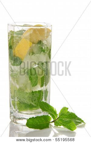 Cold cocktail of Mojito and spearmint