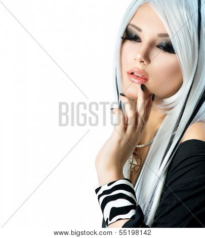 Beauty Fashion Girl black and white style. Long White Hair with Black Stripes. Smoky Eyes Makeup and Black short Nails. Sexy Woman Portrait