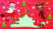 image of rudolph  - Happy Christmas greeting card with Santa Claus and his friend Rudolph the elk - JPG