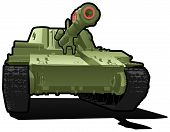 stock photo of caterpillar cartoon  - Vector color illustration of tank - JPG