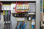 foto of assembly line  - Electrical panel at a assembly line factory - JPG