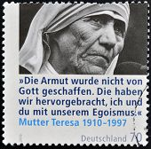 A stamp printed in Germany shows mother Teresa