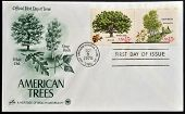 Stamps printed in USA shows White Oak (Quercus alba) and Gray Birch (Betula populifolia)