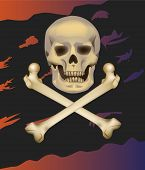 stock photo of skull crossbones flag  - Jolly Roger pirate flag - JPG