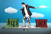 foto of seesaw  - Businessman with suit shorts and beach shoes surfing on seesaw with life and work balance concept - JPG