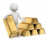 3D White People. Gold Ingots. Bullion