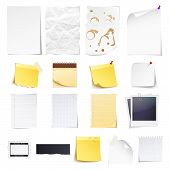 stock photo of cut torn paper  - Design elements Notebook simple white paper grungy torn paper lined and squared notepad pages  photo frame news paper cut and sticky notes isolated on white background - JPG