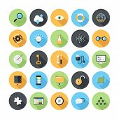 stock photo of promoter  - Vector illustration of modern simple flat seo and development icons with long shadow - JPG
