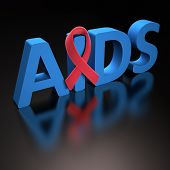 image of hiv  - Red ribbon symbol of a commitment to the fight against HIV - JPG