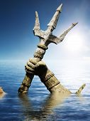 stock photo of trident  - Statue of Neptune or Poseidon - JPG
