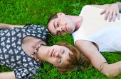 Loving Couple On Grass