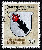 Postage Stamp Liechtenstein 1964 Arms Of Barons Of Brandis