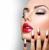 stock photo of long nails  - Fashion Beauty Model Girl - JPG