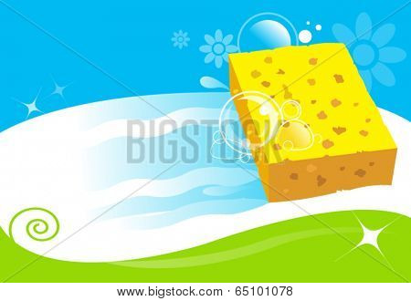 sponge cleaning surface. vector illustration for cleaning services concept