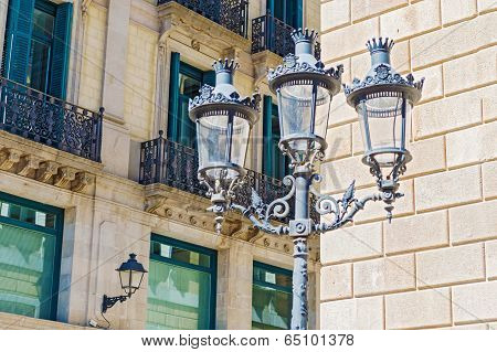 Street Lamps In Barcelona, Spain