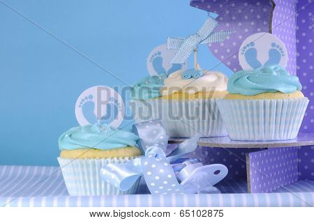 Baby Boy Cupcakes On Purple Polka Dot Cupcake Stand, Close Up
