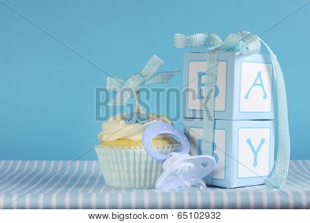 Baby Boy Cupcake With Dummy And Gift Boxes