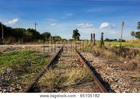 train rail with blue sky in Thailand