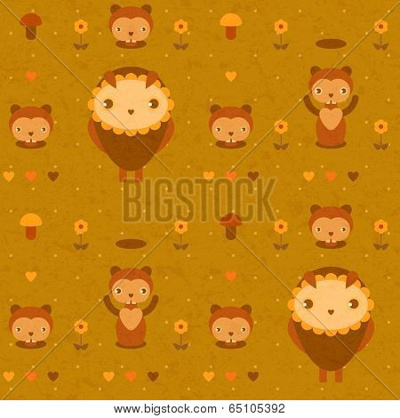 funny seamless pattern with gophers and owls