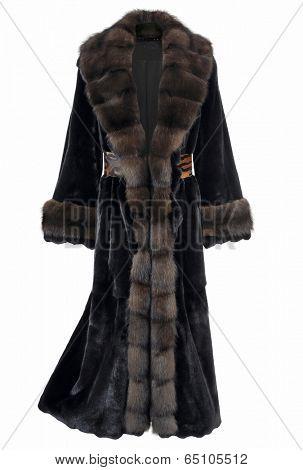 black fur coat isolated on white