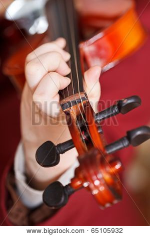 Girl Plays On Fiddle - Chord On Fingerboard