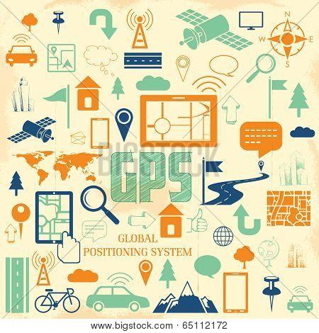 illustration of navigation icon set for GPS application