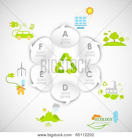 illustration of ecology infographics with chat bubble