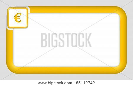 Vector Frame For Text Insertion With Euro Sign