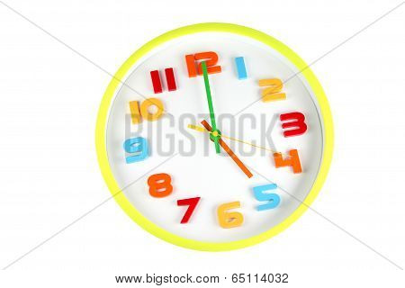 Colorful Clock In Telling Time Of Five O'clock.