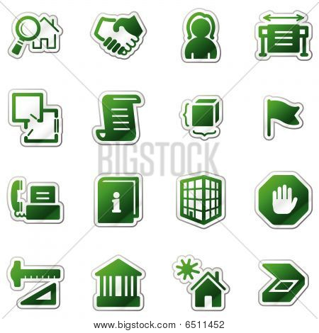 Building web icons, green sticker series