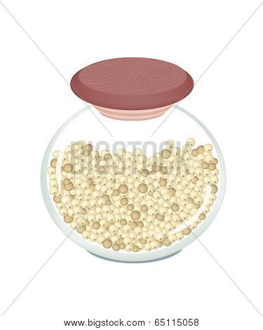 Jar Of Dried Peppercorns On White Background