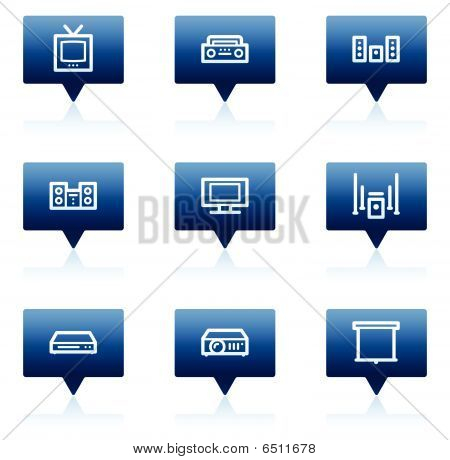 Audio video web icons, blue speech bubbles series