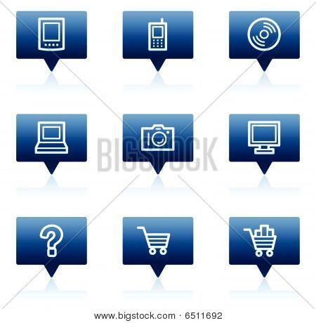 Electronics web icons set 1, blue speech bubbles series
