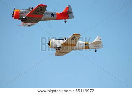 Second World War Harvards flying in formation at Paramount Group South African Air Force Museum Air