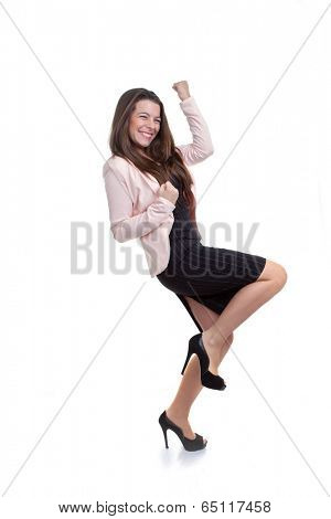 business woman celebrating promotion or pay rise