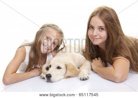 family pet golden lab dog with kids