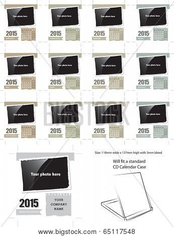 Vector Desk Calendar Template 2015.  Simply add your own photos and company name and it is ready for printing.
