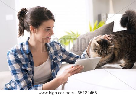Woman And Cat In The Living Room
