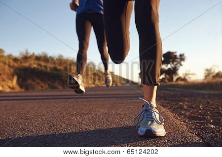 fitness exercising couple training for marathon running lifestyle