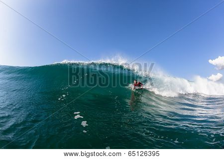 Surfing Body-Boarder Wave Blue Water