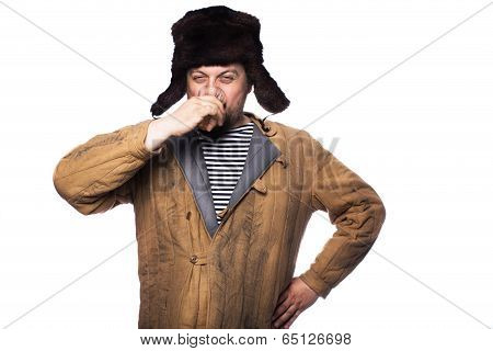Angry russian man drink a vodka