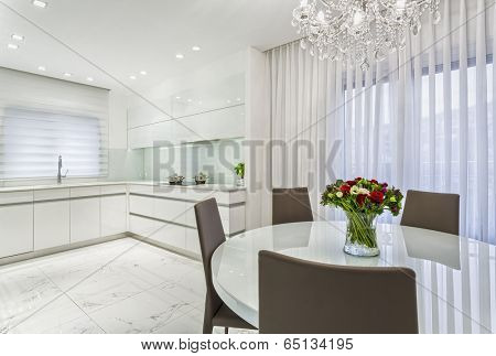 Luxury Design Of  Dining Room And Kitchen - White Color
