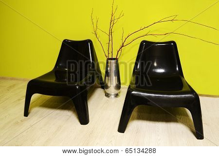 two black plastic chair