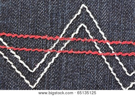 Patterns Of Yarn On The Back Of Black Jeans.