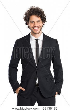 Portrait Of Smiling Young Elegant Man Isolated On White Background