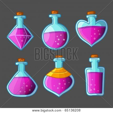 Collection of red magical bottles