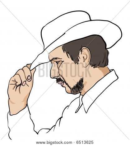 Men in black hat over white. Vector